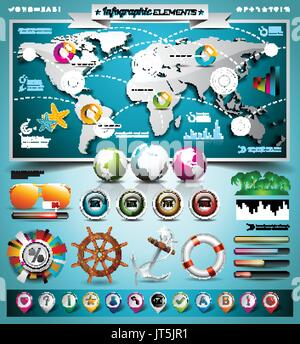 Vector summer travel infographic set with world map and vacation elements. EPS 10 illustration. - Stock Photo