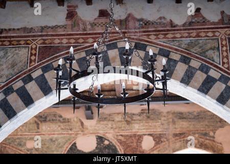 Cassano d'Adda (Milan, Lombardy, Italy): the historic castle. iron chandelier - Stock Photo