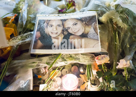 photo of 2 victims , 2 sisters. Homage at the victims of the terrorist attacks in Paris the 13th of november 2015. - Stock Photo
