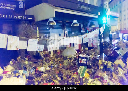 terrorism has no religion on the terrace belle équipe. homage at the victims of the terrorist attacks in Paris the - Stock Photo
