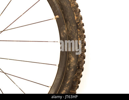 close up a a dirty mountain bike tyre - Stock Photo