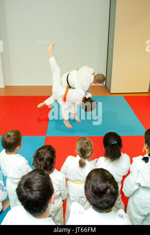 Judo lesson: two children doing judo holds on a tatami mat - Stock Photo