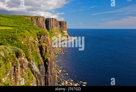 Scotland: Kilt Rock cliffs in the Isle of Skye, Inner Hebrides archipelago. - Stock Photo