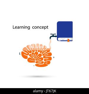 Brains icon and the textbook symbol with Learning and Knowledge filling concept.Thinking process brain and quick - Stock Photo
