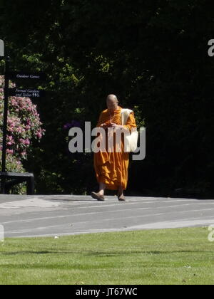 A buddhist monk listening to music on an iphone