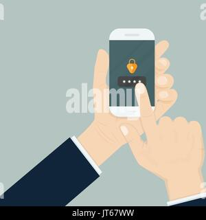 Hand holding smartphone while entering the password.Mobile phone unlocked notification button and password sign,smartphone - Stock Photo