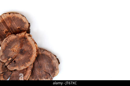 Wood slices from tree show organic texture on isolated white background.  Great for environment or wood working - Stock Photo