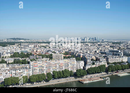 Paris (France): view over Paris from the Ballon Generali, a tethered helium balloon used as tourist attraction and - Stock Photo