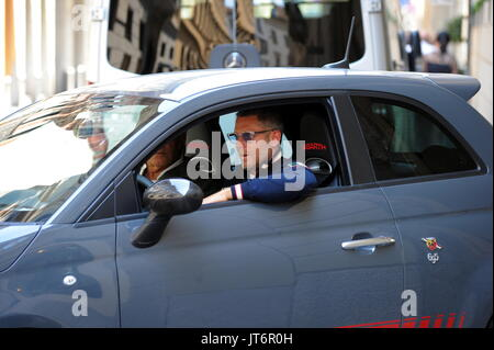 Lapo Elkann goes to lunch in his Fiat 500 car and seen wearing an Fiat 500 anniversary sweater in Milan  Featuring: - Stock Photo