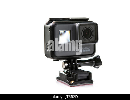 SWINDON, UK - AUGUST 8, 2017: GoPro Hero 5 Black Action Camera on a White Background - Stock Photo