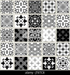 Portuguese Black And White Mediterranean Seamless Tile