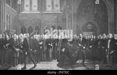 From the English Parliament, the Speaker on the way to the Upper House, Senate, England, Digital improved reproduction - Stock Photo