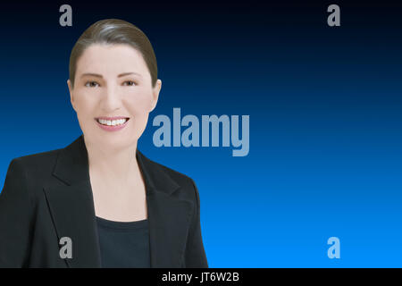Female robo-advisor or chat bot concept template, friendly smiling computer generated woman in front of blue backdrop, - Stock Photo