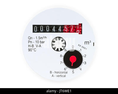 Water meter face close up view. Isolated on white with clipping path - Stock Photo