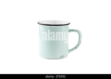 A teal colored enamel coffee cup or mug with copy space for logo isolated over a white background with clipping - Stock Photo