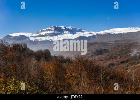 View of the autumn forest and snowy mountains - Stock Photo