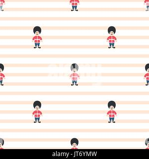 Queen guardsman cute seamless striped vector pattern. - Stock Photo