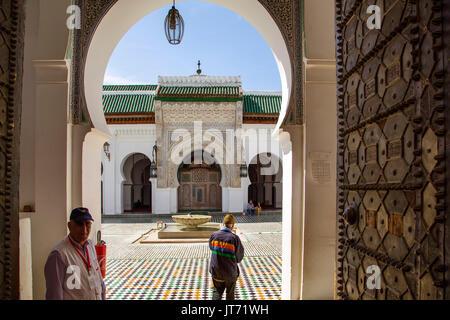 Al-Qarawiyyin or al-Karaouine mosque and university. Souk Medina of Fez, Fes el Bali. Morocco, Maghreb North Africa - Stock Photo