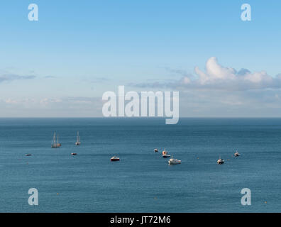 Boats bobbing on the sea in St Ives, Cornwall - Stock Photo