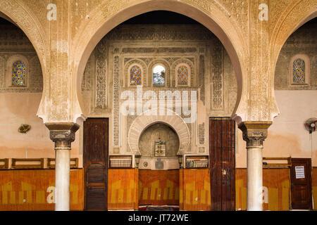The Madrasa Bou Inania or Medersa Bu Inaniya.Souk Medina of Fez, Fes el Bali. Morocco, Maghreb North Africa - Stock Photo