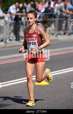 Nikolina Stepan of Croatia running in the IAAF World Championships 2017 Marathon race in London, UK. Space for copy - Stock Photo