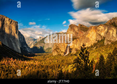 Yosemite Valley and Bridalveil Fall at sunset from tunnel view, California. Long exposure. - Stock Photo