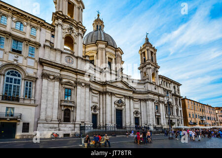 The exterior facade of the baroque Sant'Agnese in Agone cathedral in the Piazza Navona in Rome Italy on a sunny - Stock Photo