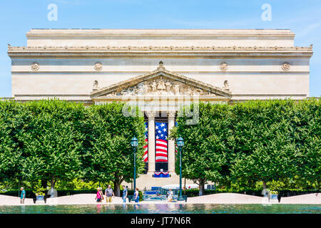 Washington DC, USA - July 3, 2017: National Archives building in summer with sculpture garden fountain on National - Stock Photo