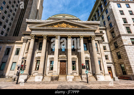 Montreal, Canada - May 28, 2017: Old town area Centaur theater and old stock exchange by place d'arms square during - Stock Photo