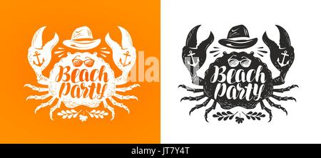 Crab, typographic design. Travel, journey concept. Beach party, lettering vector illustration - Stock Photo