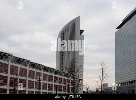 View of modern buildings in Frankfurt in winter. - Stock Photo
