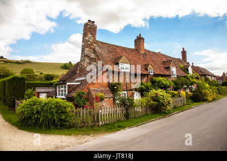 Cottages in the tranquil  rural English village of Turvill in the Chiltern Hills  Buckinghamshrie  setting  for - Stock Photo