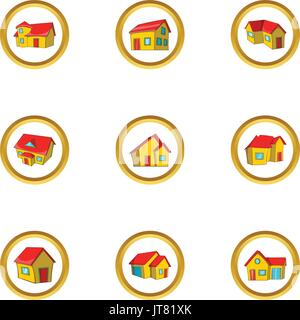 House collection icon set, cartoon style - Stock Photo