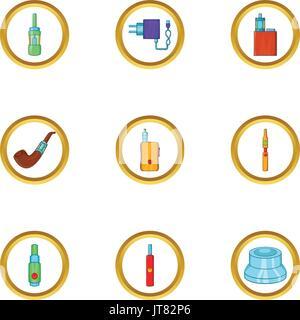Electronic cigarette icon set, cartoon style - Stock Photo
