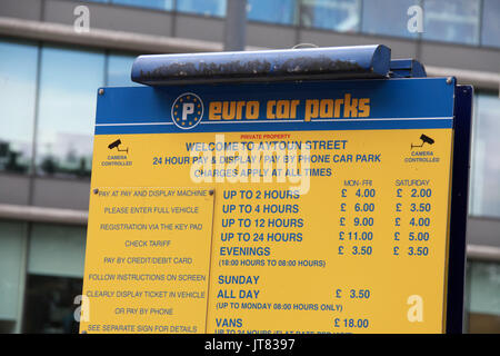 Euro car parks sign in Manchester - Stock Photo