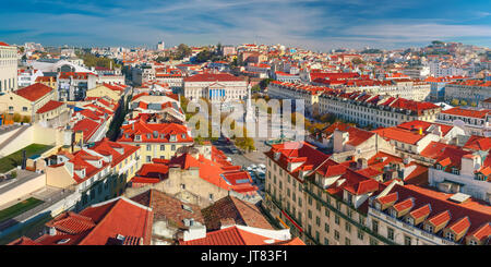 Rossio square with wavy pattern, Lisbon, Portugal - Stock Photo