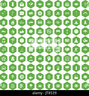 100 yoga studio icons hexagon green - Stock Photo