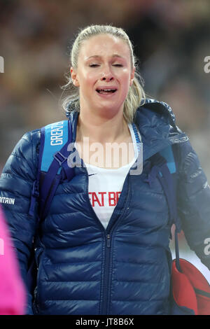 London, UK. 07-Aug-17. Sophie HITCHON emotional after finishing 7th in the Hammer throw at the 2017 IAAF World Championships, - Stock Photo