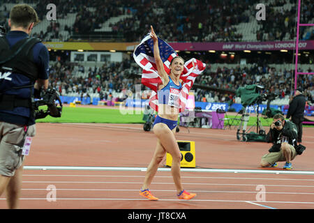 London, UK. 07-Aug-17. Jennifer SIMPSON of the USA celebrating her 2nd place the Women's 1500m Final at the 2017, - Stock Photo