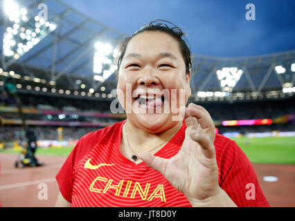 London, UK. 8th Aug, 2017. Wang Zheng of China celebrates after Women's Hammer Throw Final on Day 4 of the 2017 - Stock Photo