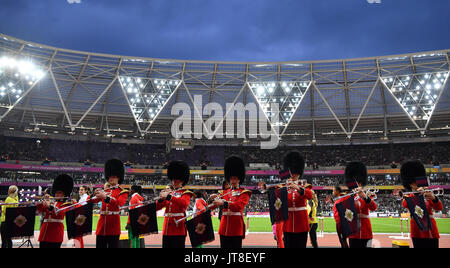 London, UK. 7th Aug, 2017. A military band plays at the IAAF London 2017 World Athletics Championships in London, - Stock Photo