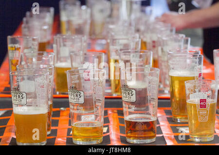 London, UK. 8th Aug, 2017. Hundreds of beer enthusiasts flock to the 40th CAMRA Great British Beer Festival at Olympia - Stock Photo