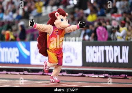 London, UK. 8th Aug, 2017.  Hero the hedgehog mascot. IAAF world athletics championships. London Olympic stadium. - Stock Photo