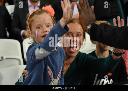 London, UK. 8th Aug, 2017. IAAF World Championships. Day 5. French supporters. Credit: Matthew Chattle/Alamy Live - Stock Photo