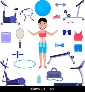 Vector cartoon girl with various sports equipment - Stock Photo