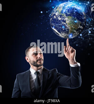 Global internet connection concept. World provided by NASA - Stock Photo