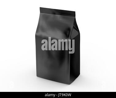 Black coffee bean bag mockup, blank foil bag template in 3d rendering - Stock Photo