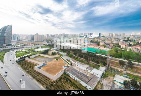 View of Baku Azerbaijan from building top - Stock Photo