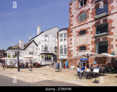 21 June 2017: Exeter, Devon, England, UK - Pubs and restaurants at Exeter Quay on a fine summer day. - Stock Photo