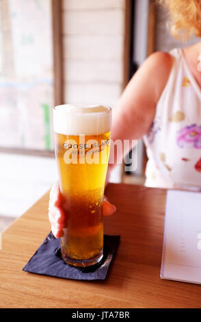 Glass of Goose Island beer brewed in Chicago USA - Stock Photo